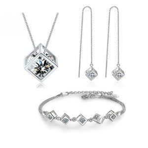 *NEW [Set of 3] 925 Sterling Silver Diamond Cube